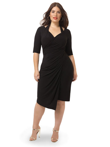 Foxfire Faux Wrap Dress In Black Noir
