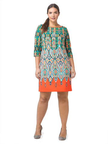 Printed Shift Dress With Orange Border