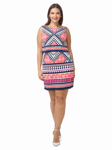 Popover Dress In Geometric Print