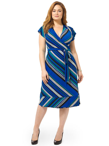 Geneva Wrap Dress In Ocean Wave