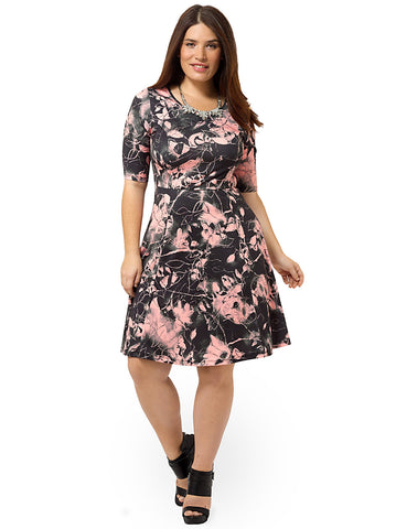 Electric Floral Fit & Flare Dress