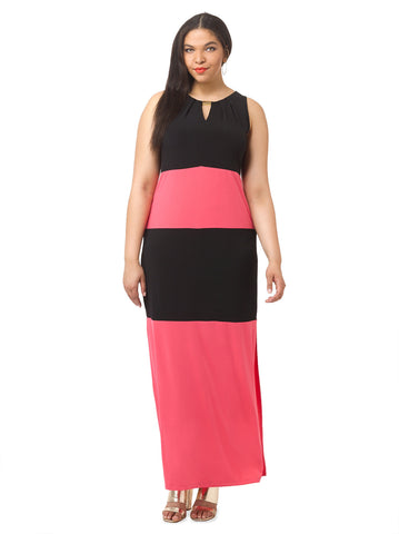Colorblock Maxi Dress With Keyhole Neckline