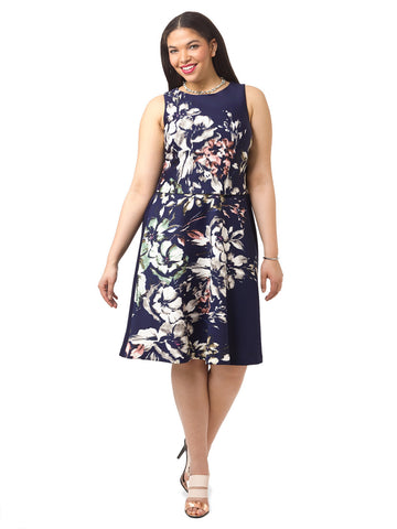 Fit & Flare Dress In Painterly Floral