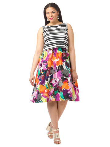 Fit & Flare Dress In Mixed Print