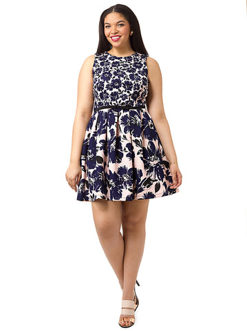 Fit & Flare Dress In Mixed Floral