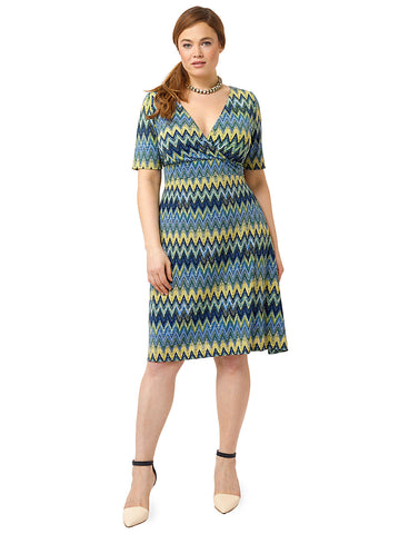 Working Through Lunch Dress In Chevron Print