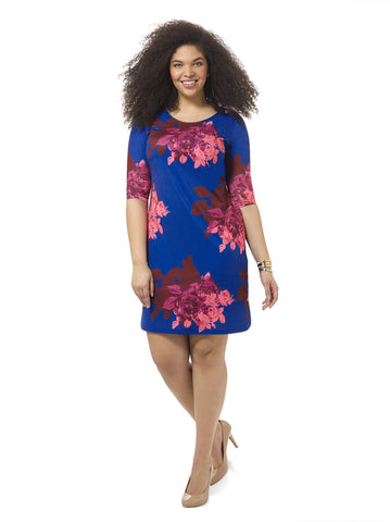 Bold & Bright Rose Shift Dress