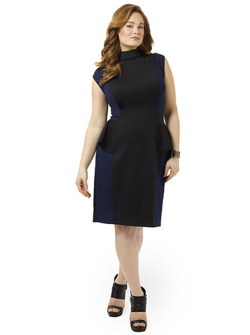 Navy Colorblock Peplum Ponte Dress