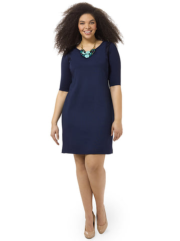 Navy Mesh Insert Ponte Dress