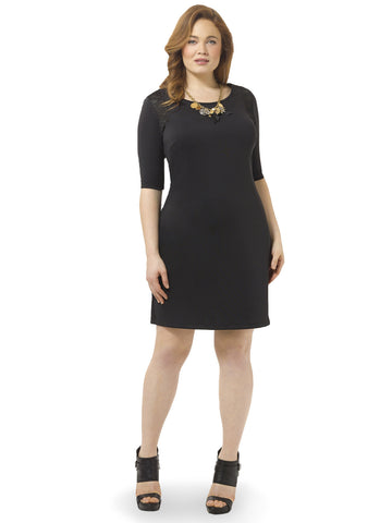 Black Mesh Insert Ponte Dress