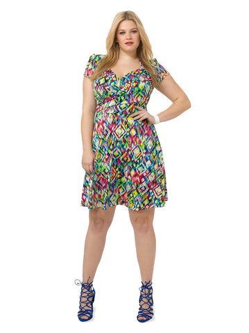 Sweetheart Dress In Bright Abstract