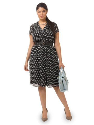 Sarah Dress In Noir Retro Dots