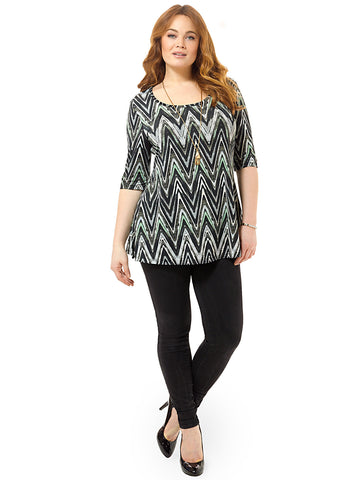Thea Tunic In Gray Abstract Chevron