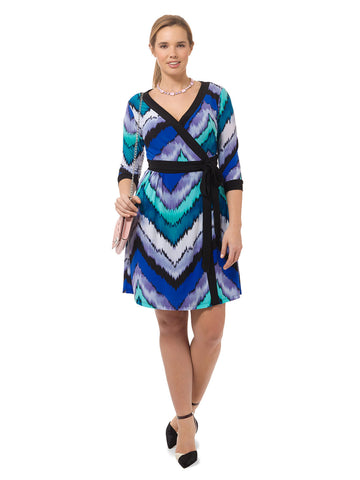 Socialite Dress In Watercolor Chevron