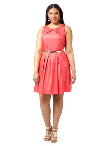 Coral Pleated Dress In Polka Dots