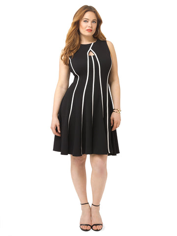 Fit & Flare Dress With White Stripes