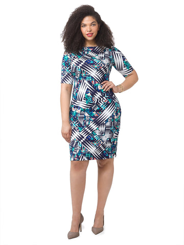 Bodycon Dress In Mixed Print