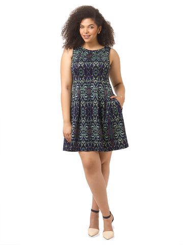Printed Boatneck Dress In Navy & Purple