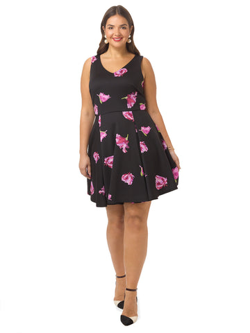 V-Neck Dress In Rose Print