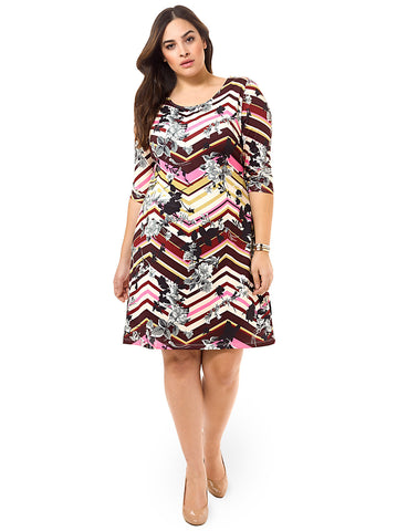 Burgundy & Bloom Chevron Shift Dress