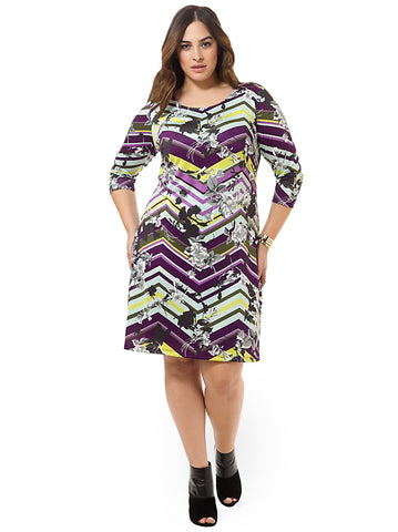 Mint & Mardi Gras Chevron Shift Dress