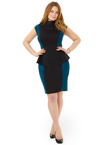 Peacock Colorblock Peplum Ponte Dress