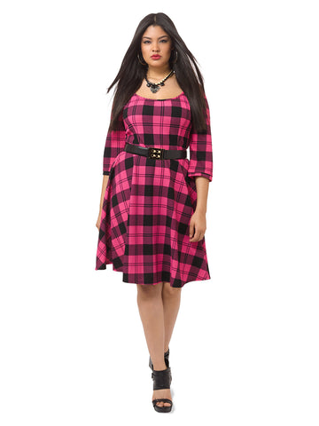 Rose and Black Check Dress