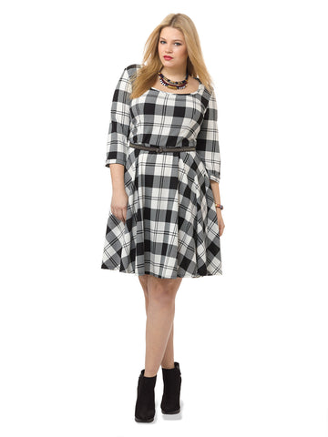 White and Black Check Dress