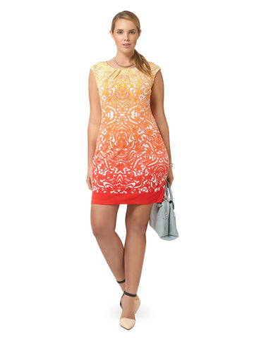 Ombre Dress In Swirl Print