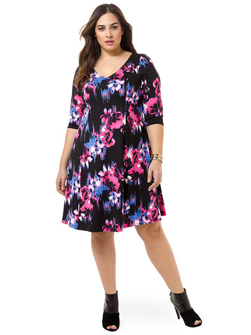 Dress In Painterly Floral