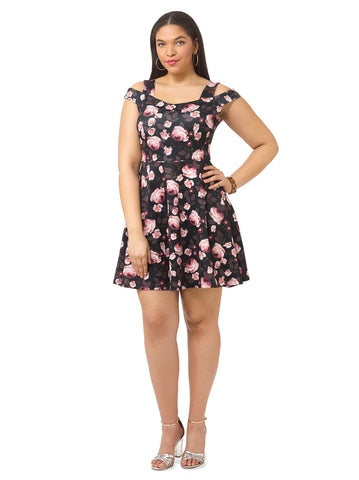Fleur Scuba Bardot Dress With Straps