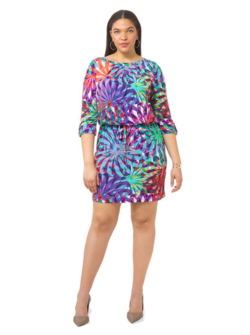 Blouson Dress In Abstract Leaf Print