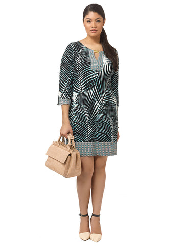 Keyhole Shift Dress In Palm Leaf Print