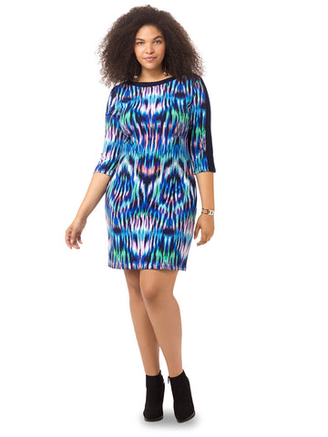 Boatneck Dress In Ikat Print