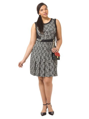 Mosaic Print Pleated Dress
