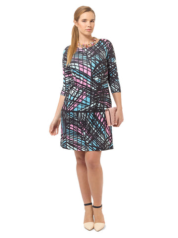 Etched Pastel Shift Dress