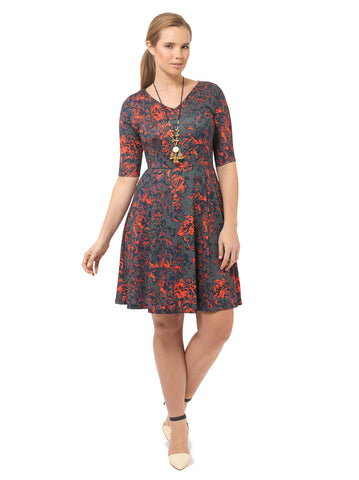 Vibrant Damask Fit & Flare Dress