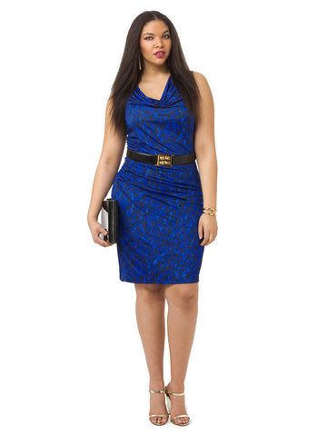 Blue Monochrome Ruched Dress