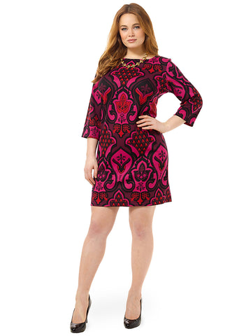 Placed Print Shift Dress In Plum