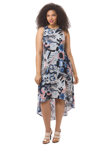 Hi-Lo Maxi Dress In Art Print