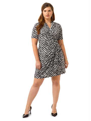 Cascade Print Wrap Dress