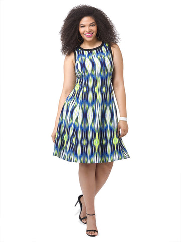 Fit & Flare Dress In Lime Ikat Print