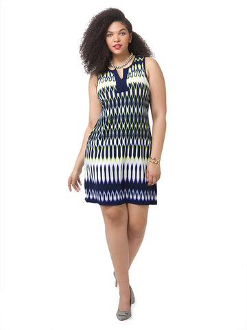 Split Neck Shift Dress In Geometric Print