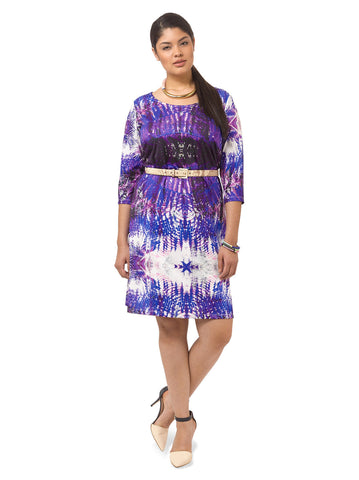 Purple Tie-Dye Shift Dress