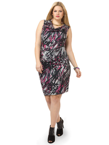 Painted Abstract Ruched Dress