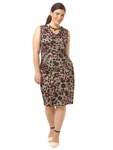 Abstract Floral Ruched Dress