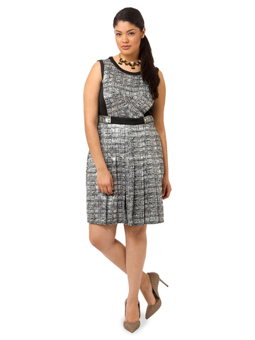 Crosshatch Print Pleated Dress