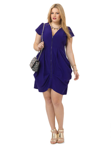 Zip Front Tunic Dress In Zinnia