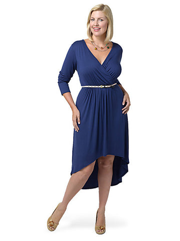 High Low Faux Wrap Dress