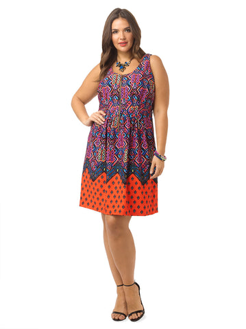 Tribal Print Front Zip Dress